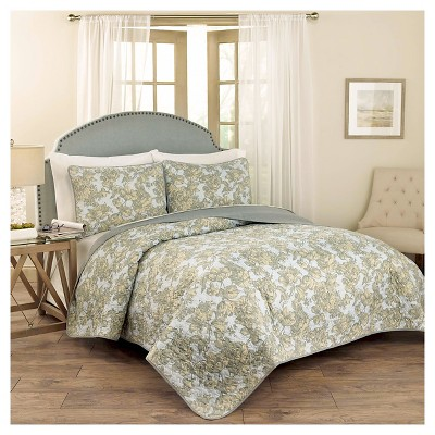 blue floral tulip toile quilt set 3pc traditions by waverly