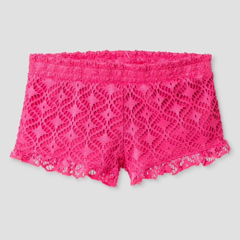 Girls Miken Swim Smocked Ruffle Crochet Shorts - Pink XL