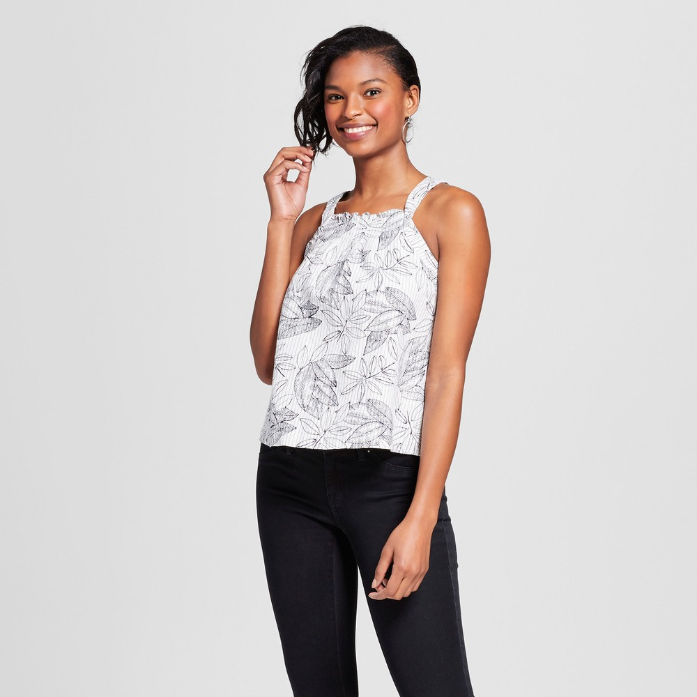 Womens Printed Woven Tank - Merona Sour Cream XL, White