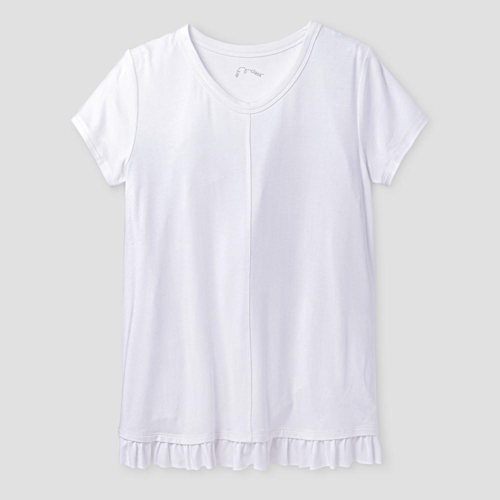 Girls Short Sleeve Ruffle T-Shirt - Art Class White XL, Size: XL(14-16)