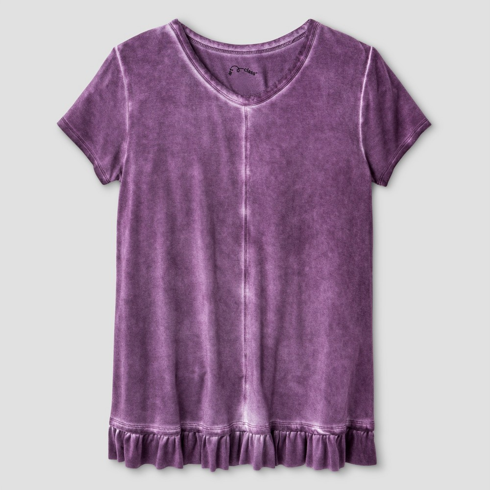 Girls Short Sleeve Ruffle T-Shirt - Art Class Purple M, Size: M (7-8)