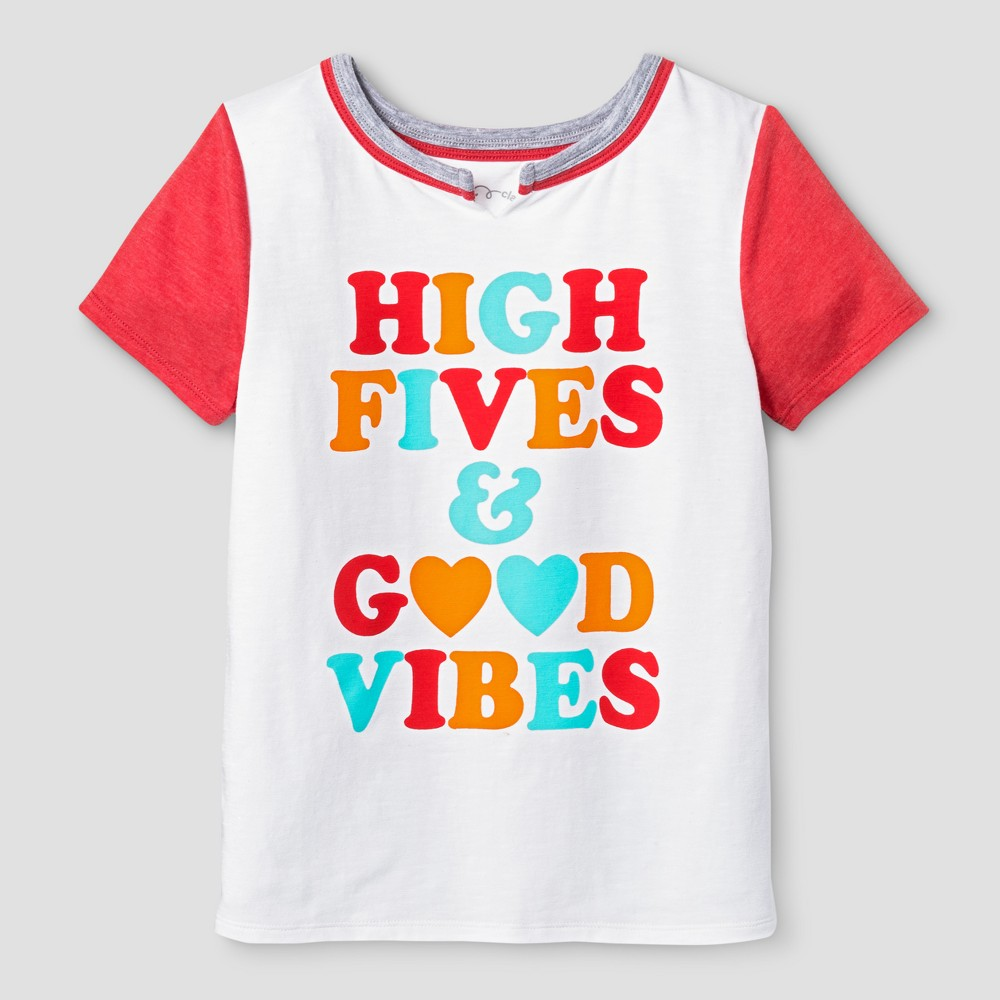 Girls Short Sleeve Good Vibes T-Shirt - Art Class White L, Size: L(10-12)