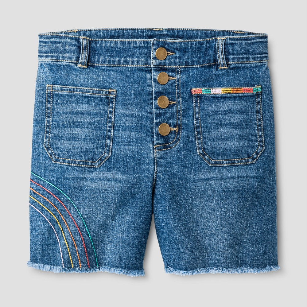 Girls High-Waist Shorts - Art Class Denim XS, Blue