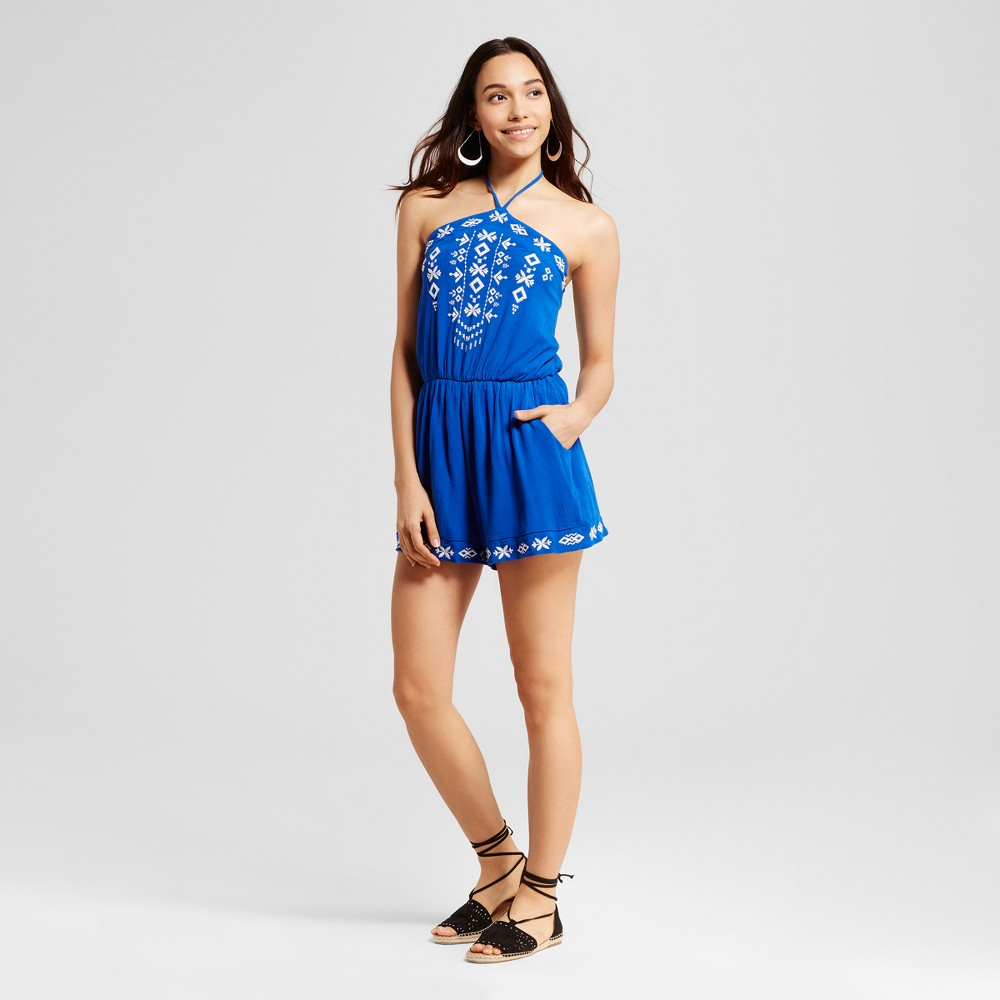 Womens Embroidered Romper - Xhilaration (Juniors) Dazzling Blue L, Purple