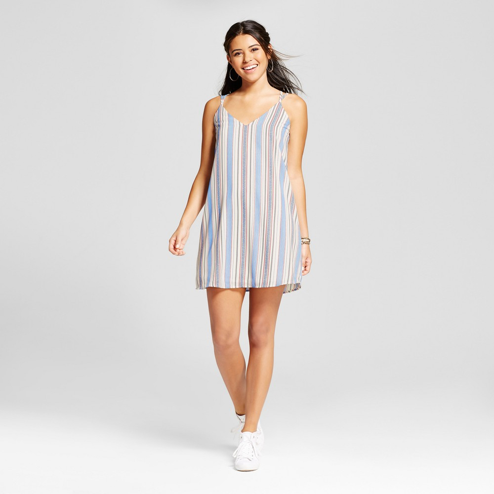 Womens Stripe Strappy Dress - Xhilaration (Juniors) Blue Opague M