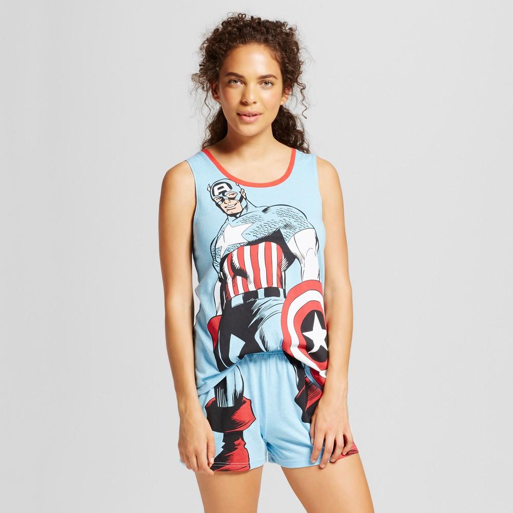 Marvel Women's Captain America Pajama Set - Blue L