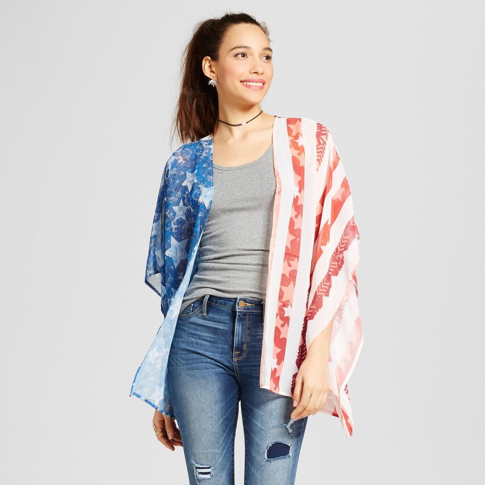 Womens Flag Print Kimono - Xhilaration (Juniors) White Sand M/L