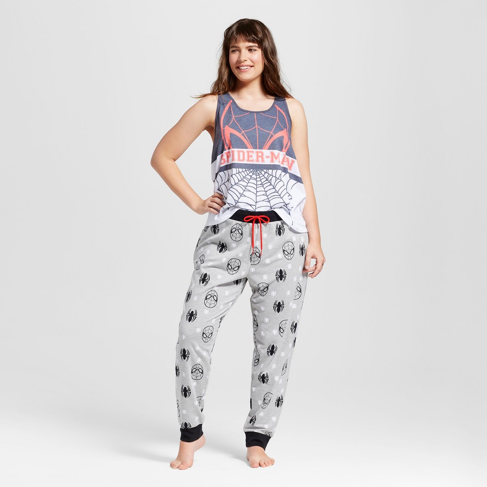 Womens Plus Size Spider-Man Slouch Tank and Jogger Pajama Set - White/Heather Gray 2X