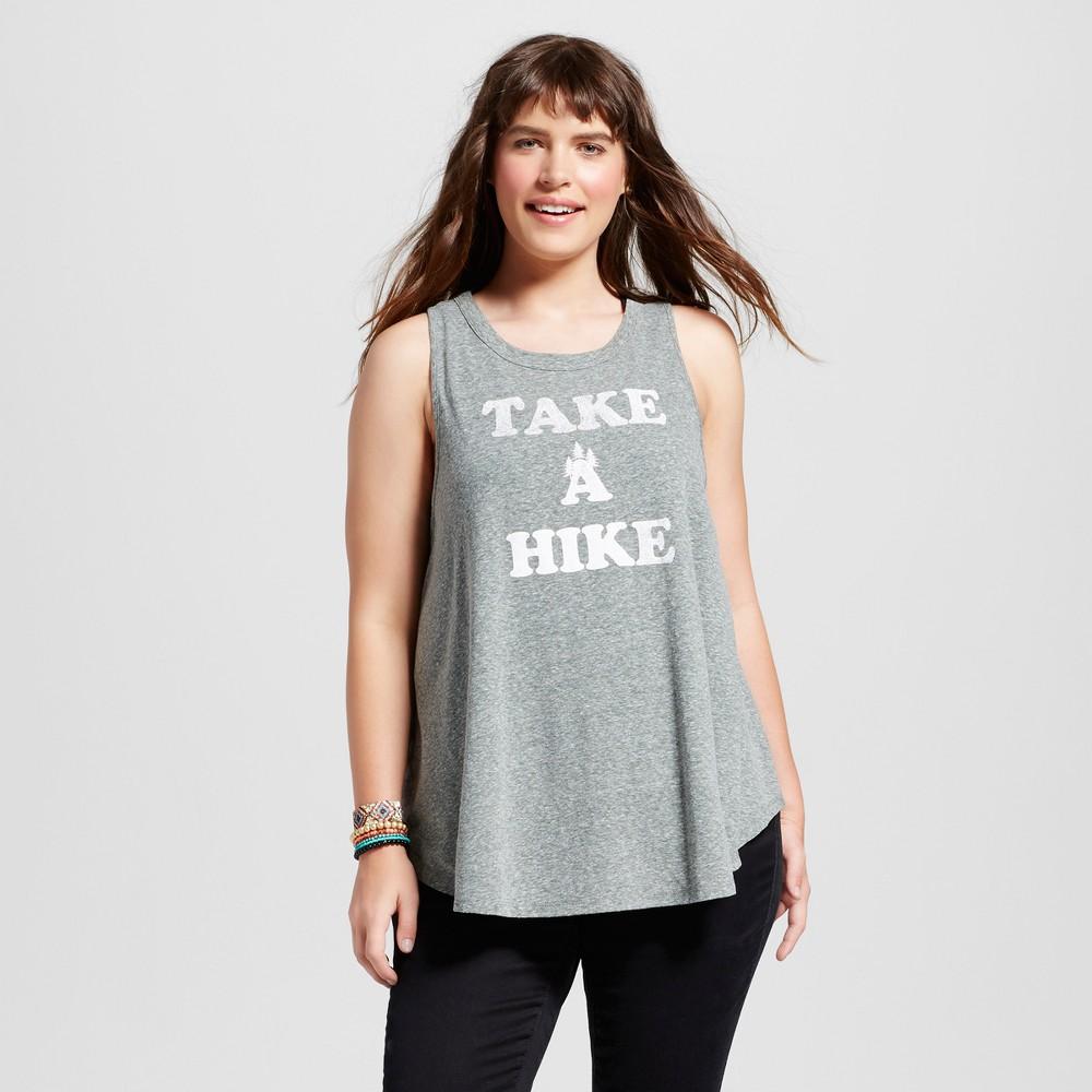 Womens Plus Size Take A Hike Graphic Tank Top - Modern Lux Kale Green 3X