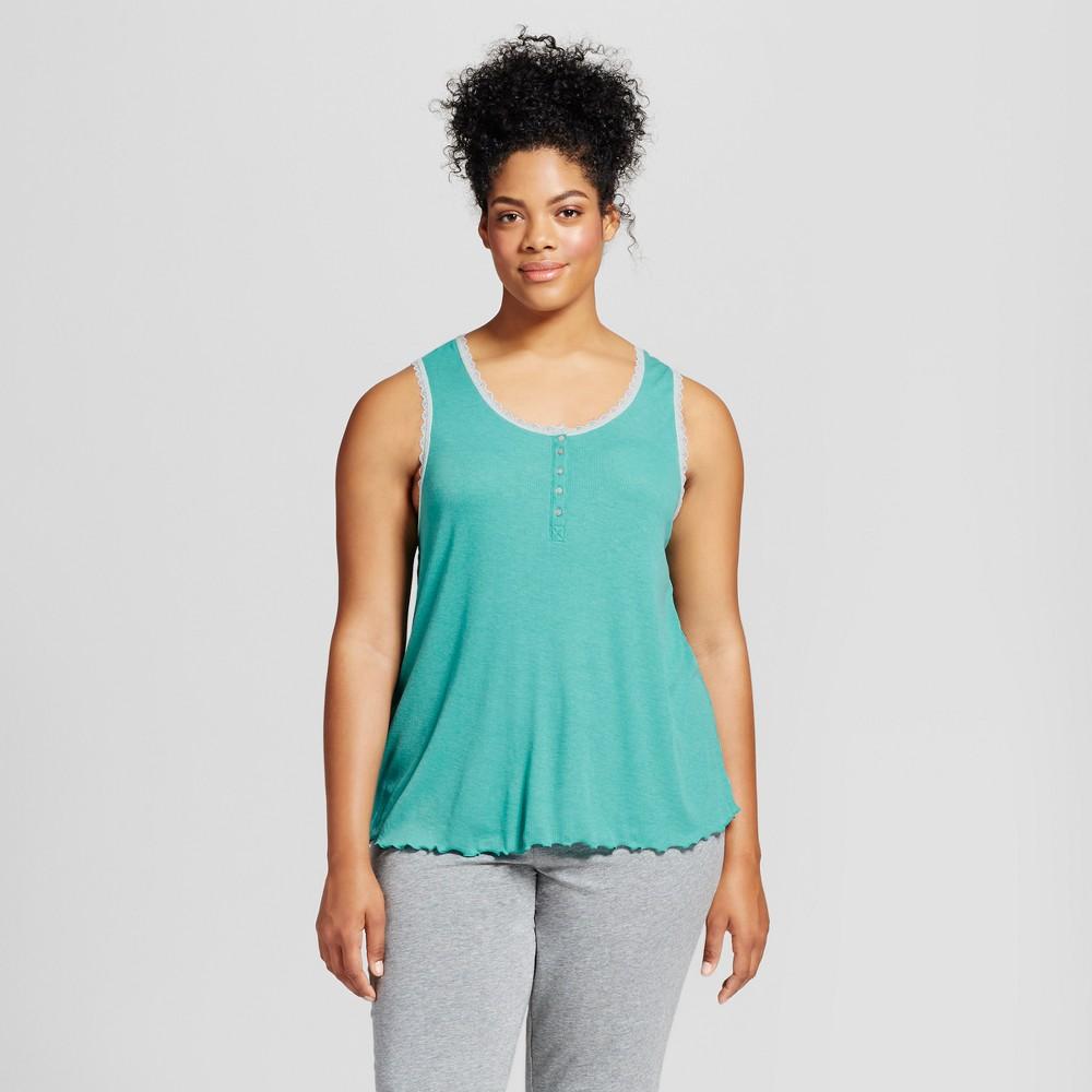 Womens Plus Size Sleep Tank Top - Xhilaration Turquoise Gem 3X, Blue
