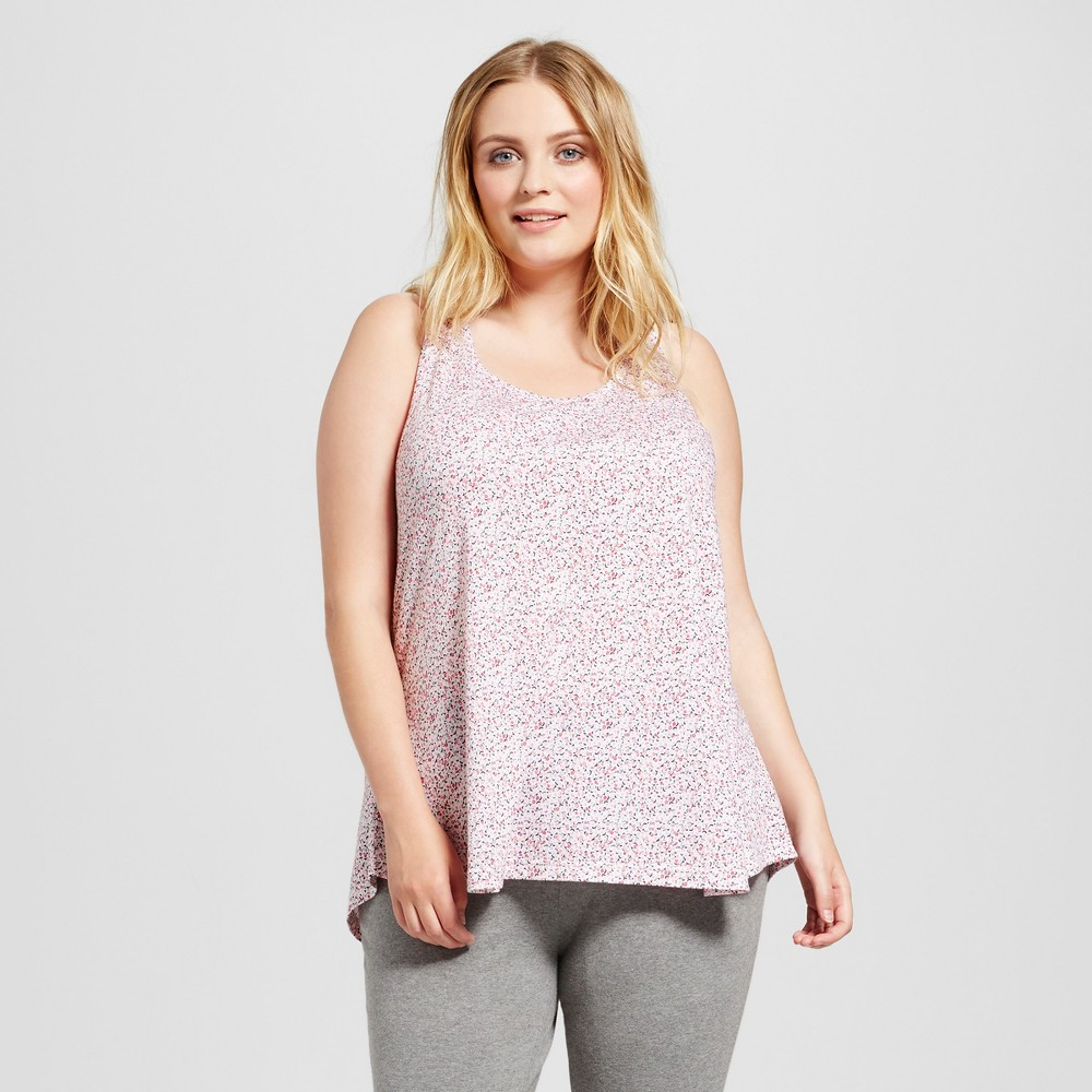 Womens Plus Size Sleep Tank Top - Xhilaration Daydream Pink 1X