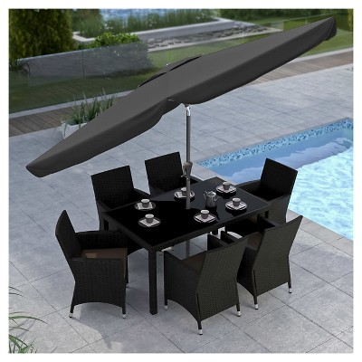 8u0027 Tilting Patio Umbrella Black   Corliving