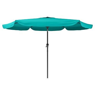 8' Tilting Patio Umbrella Turquoise Blue - Corliving