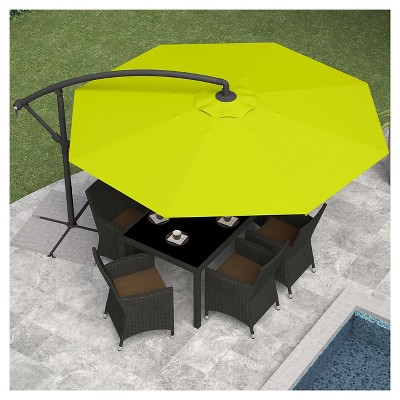 Delightful 8.25u0027 Offset Patio Umbrella Lime Green   Corliving
