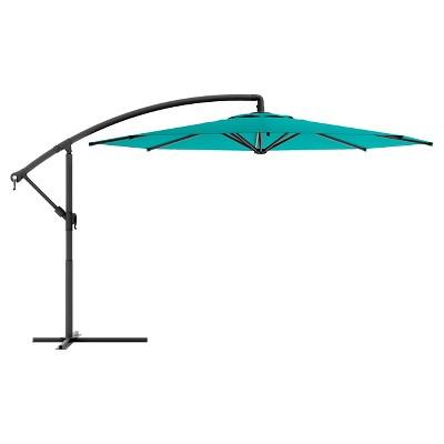 8.25' Offset Patio Umbrella Turquoise Blue - Corliving
