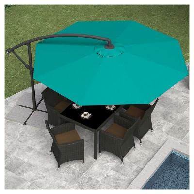 8.25u0027 Offset Patio Umbrella Turquoise Blue   Corliving  Offset Patio Umbrellas