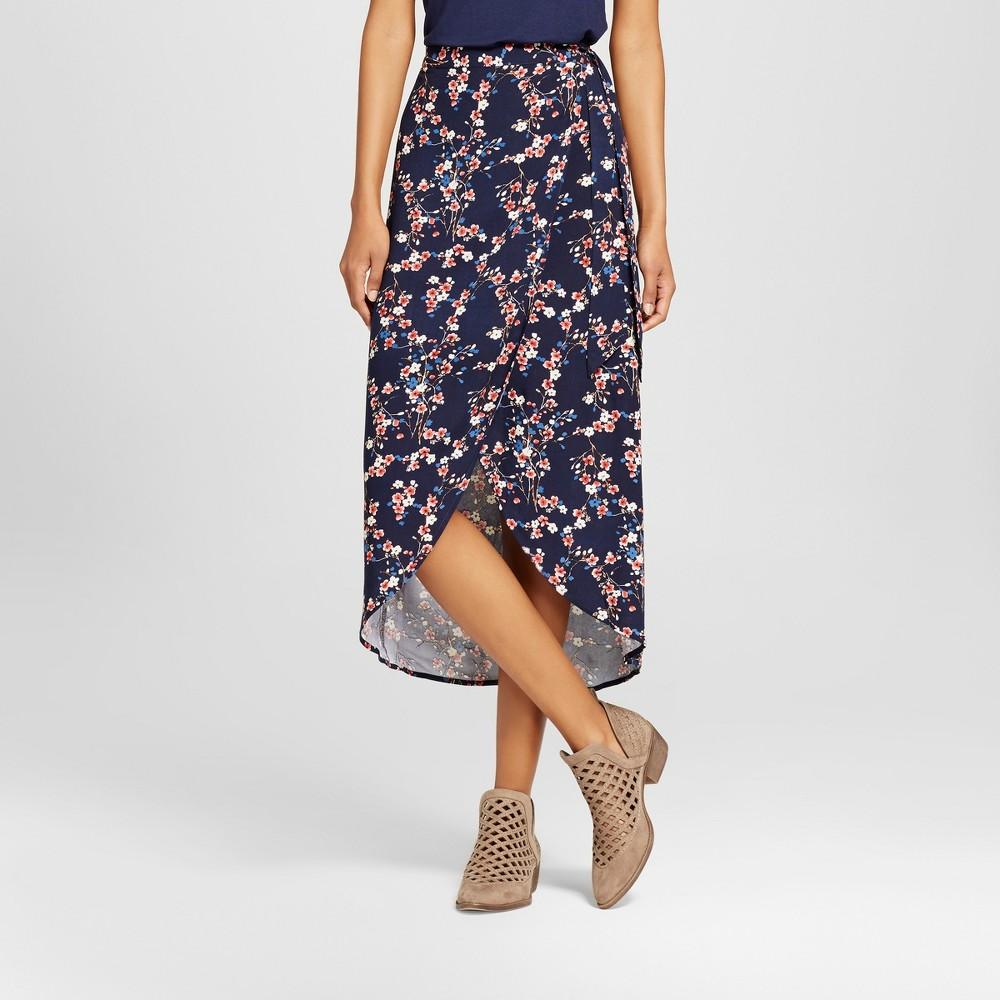 Womens Wrap Maxi Skirt - Xhilaration (Juniors) Navy (Blue) S