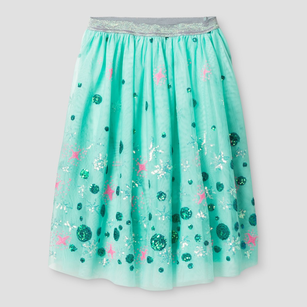 Girls Tulle Midi Skirt with Sequins - Cat & Jack Aqua XS, Blue