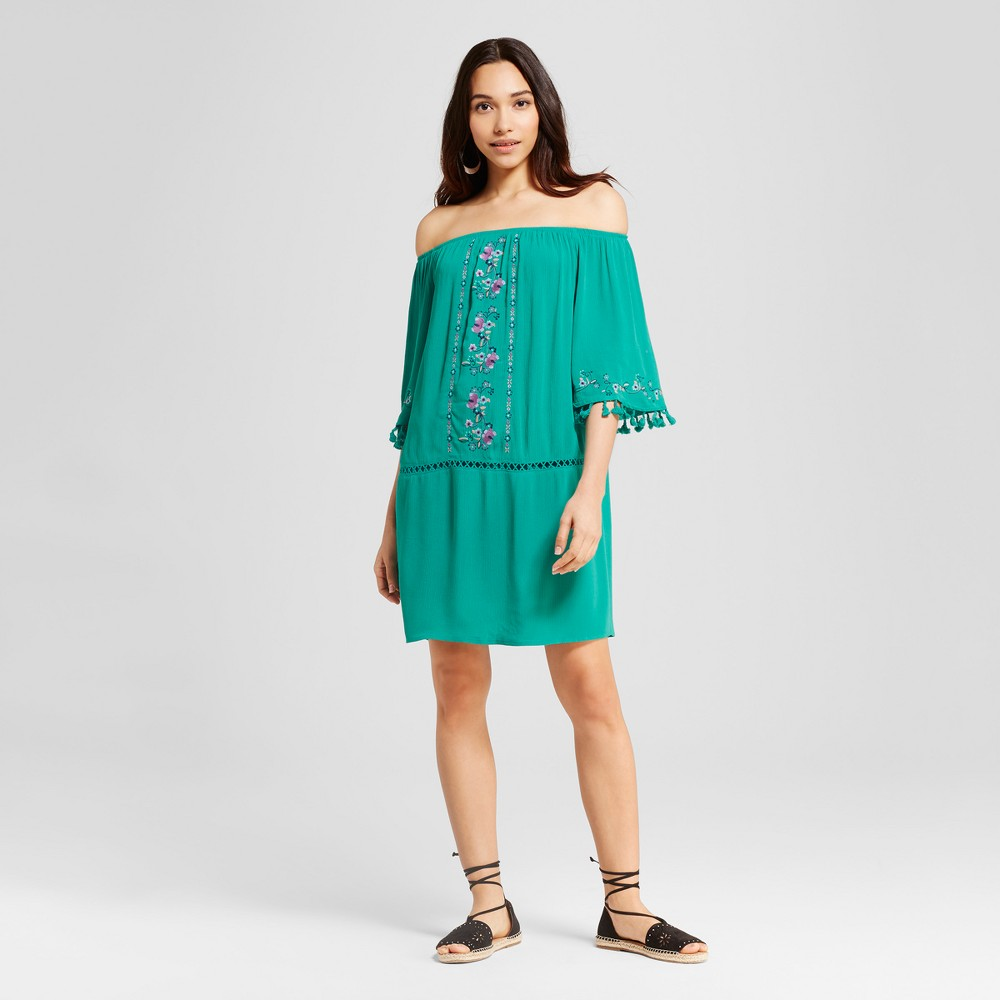 Womens Off the Shoulder Fringe Dress - Xhilaration (Juniors) Teal (Blue) XL