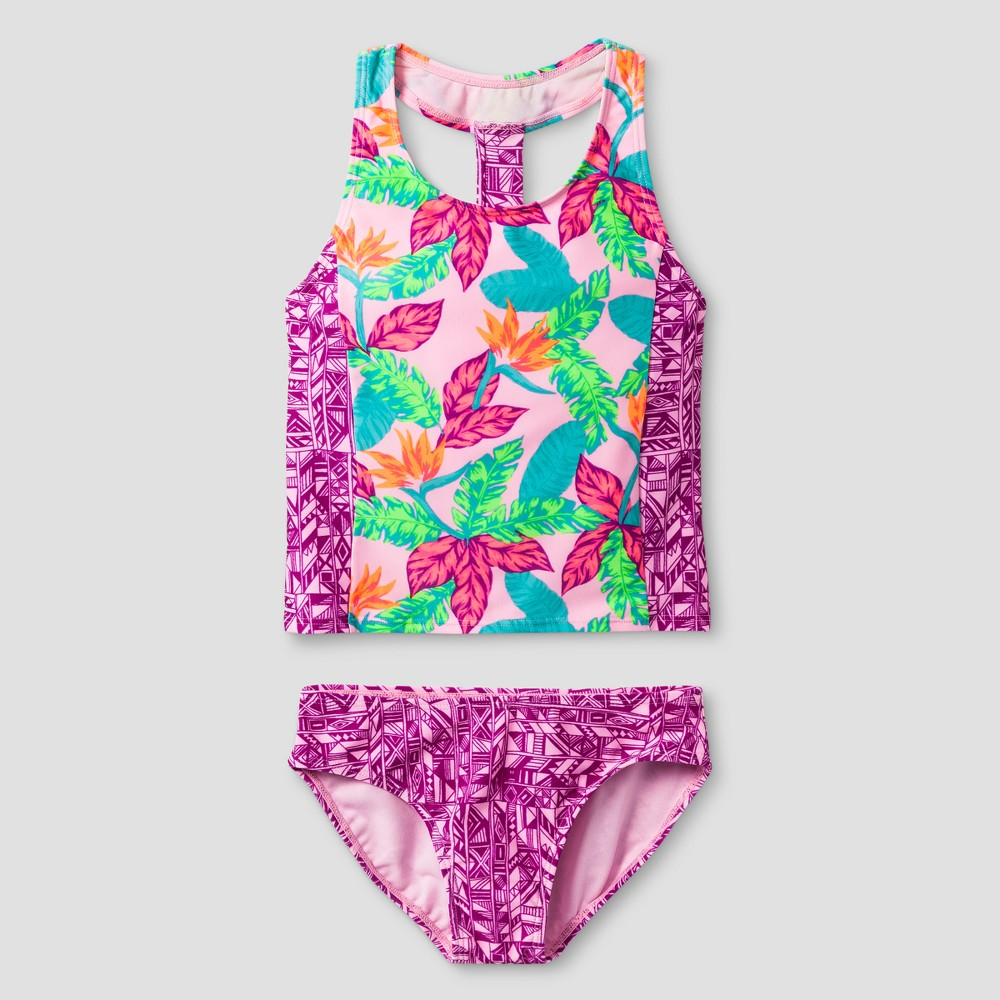 Girls Floral Print Tankini - Cat & Jack Pink L, Purple