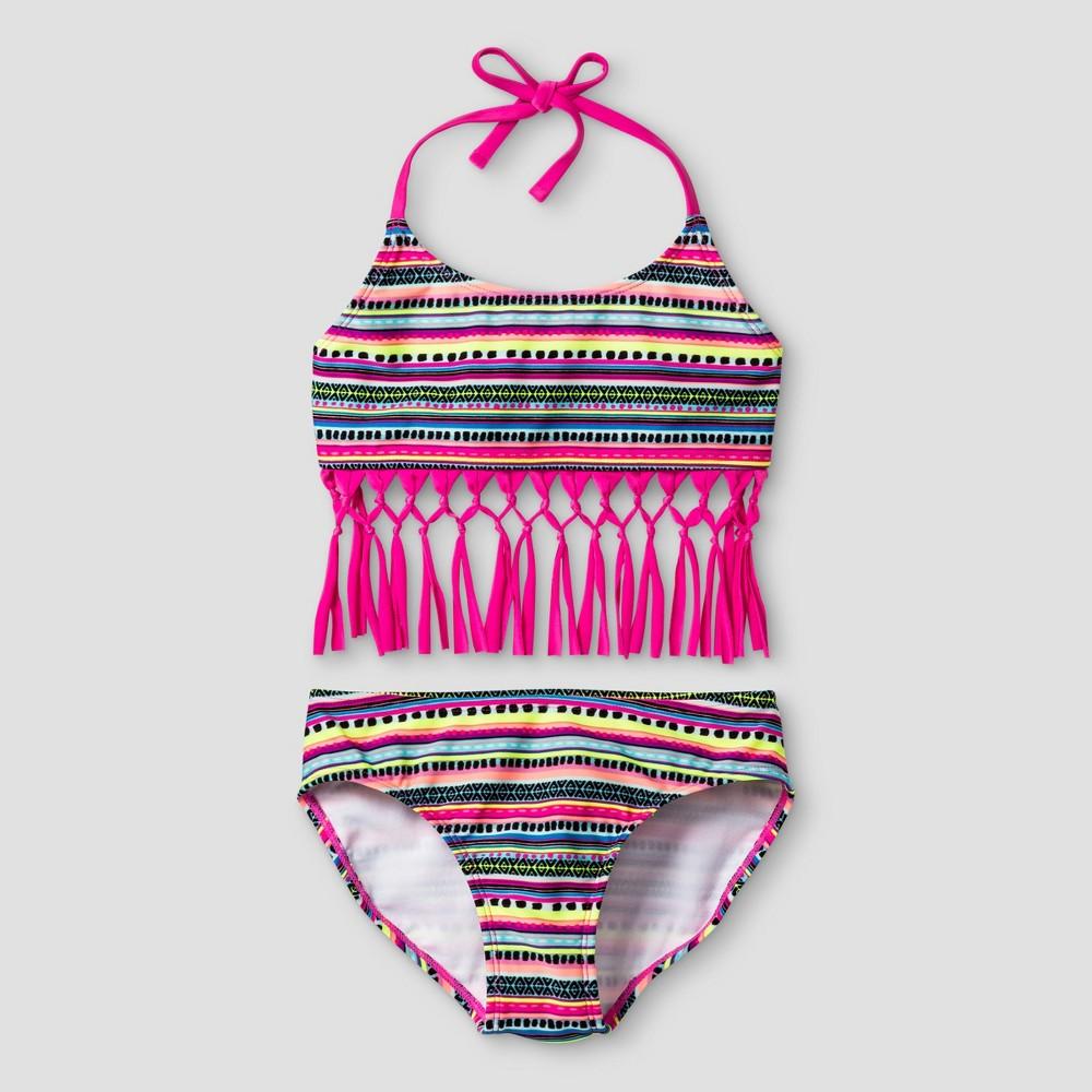 Girls Bikini Tribal Print with Fringe - Cat & Jack Pink M, Multicolored