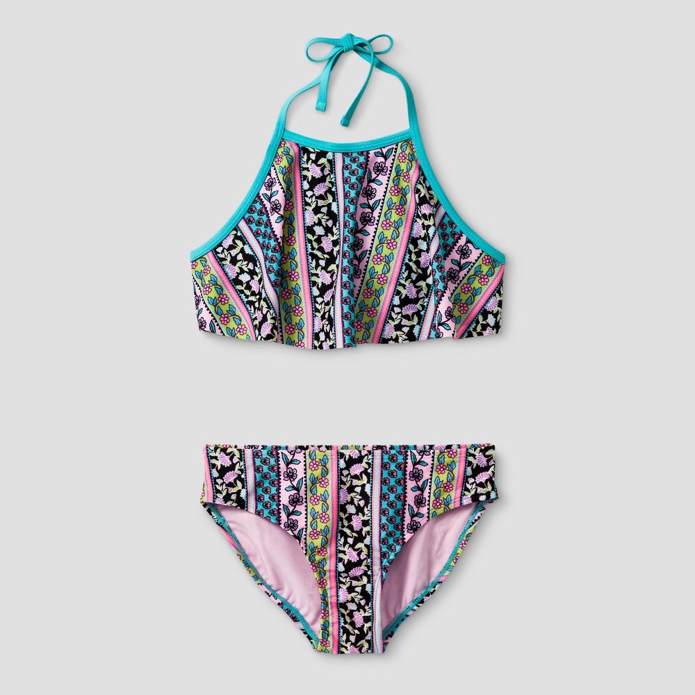 Girls Boho Print High Neck Flounce Bikini - Xhilaration Green XS