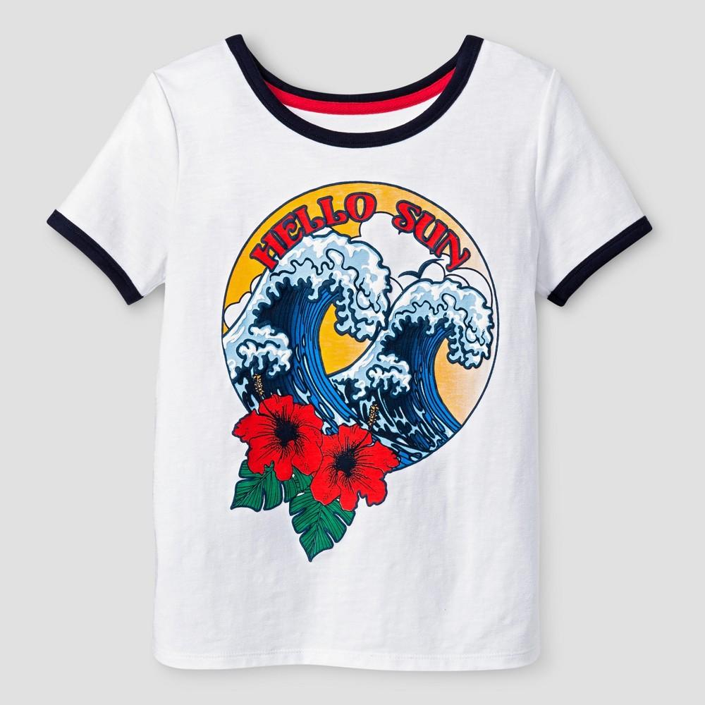 Girls Short Sleeve Hello Sun T-Shirt - Art Class White M, Size: M (7-8)