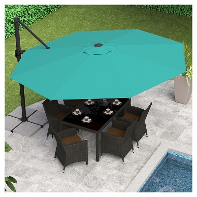 Nice 8.5u0027 Deluxe Offset Patio Umbrella In Turquoise Blue   Corliving