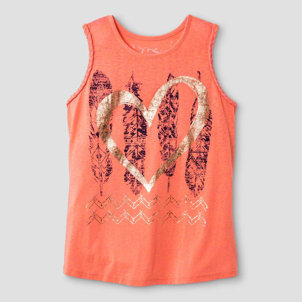 Girls Braided Graphic Feathers Tank Top - Art Class Coral XS, Pink