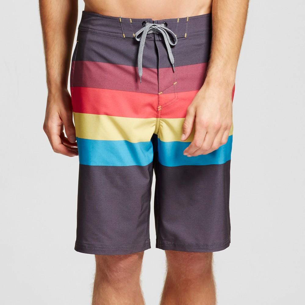 Mens Retro Stripe Board Shorts - Mossimo Supply Co. Charcoal 38, Black