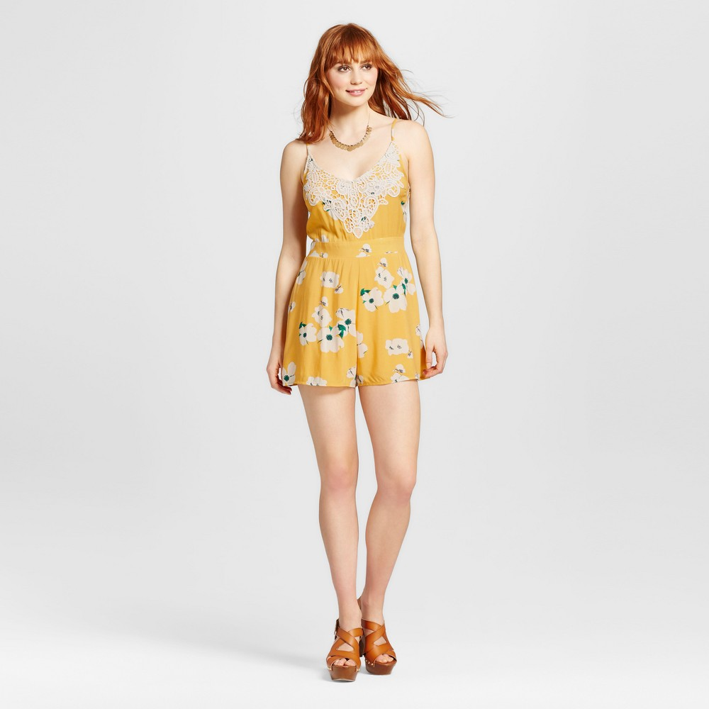 Womens Lace-trim Strappy Romper - Xhilaration (Juniors) Yellow XL