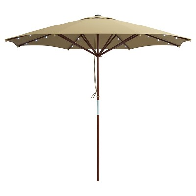 Corliving Taupe Patio Umbrella With Solar Power Led Lights