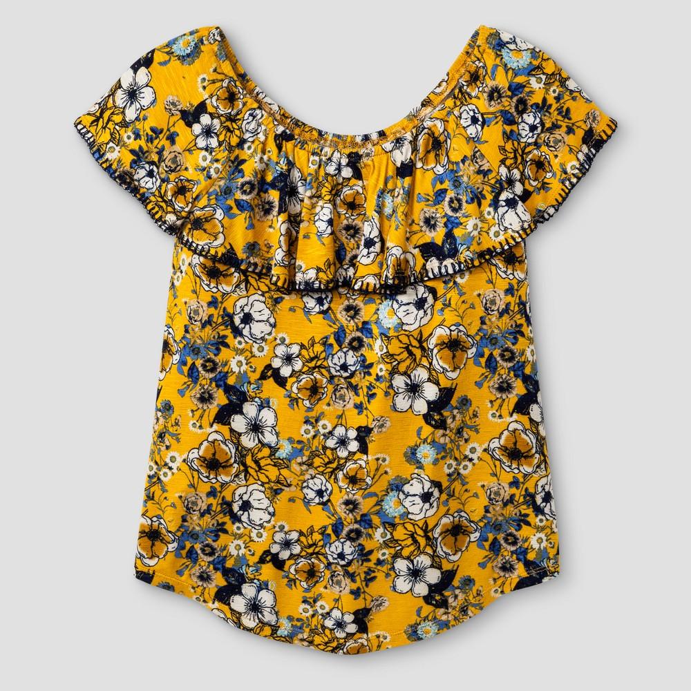 Girls Short Sleeve Knit Blouse - Art Class Golden Poppy/Shadow XS, Yellow