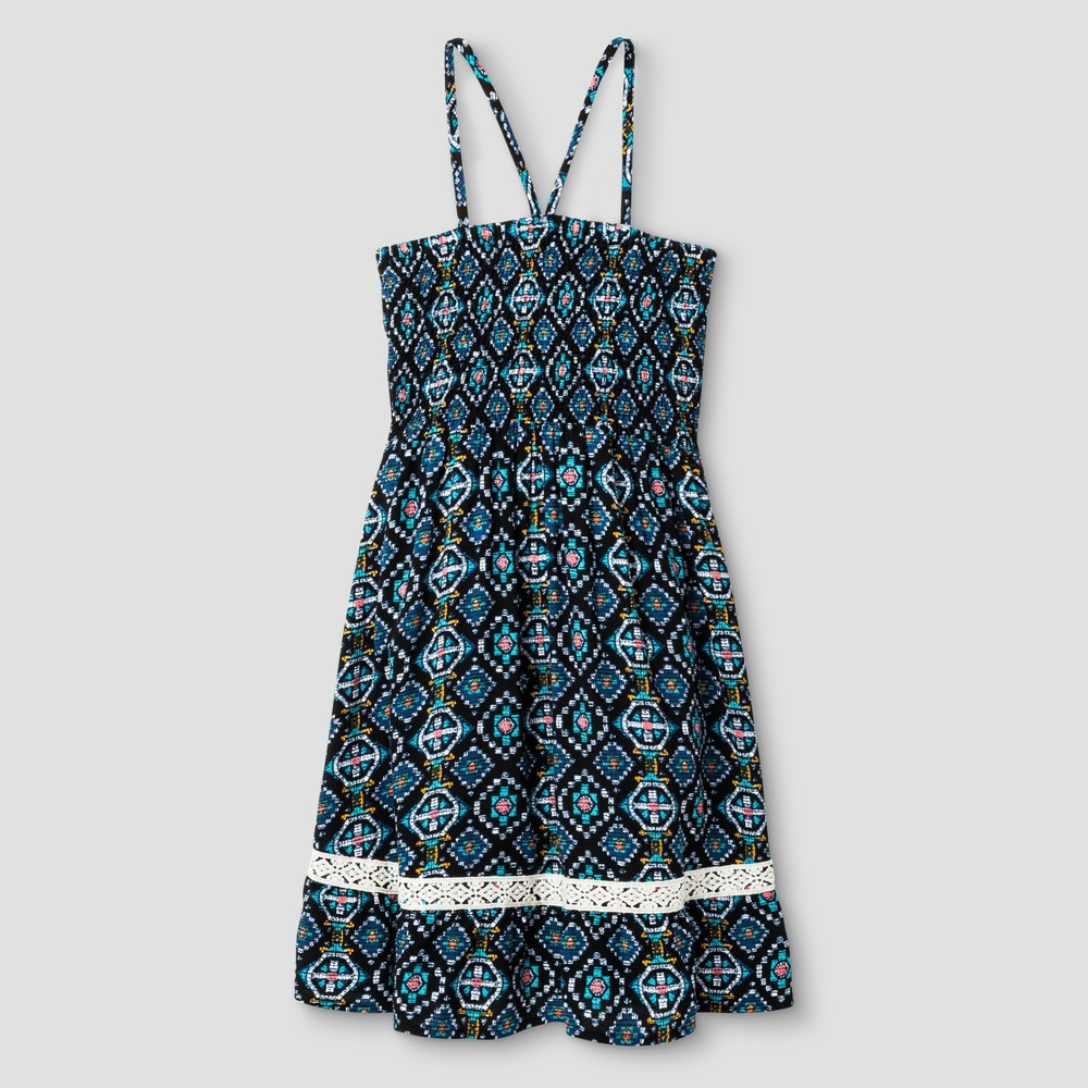 Girls Smocked Dress - Art Class Hibiscus/White Sand M, Black