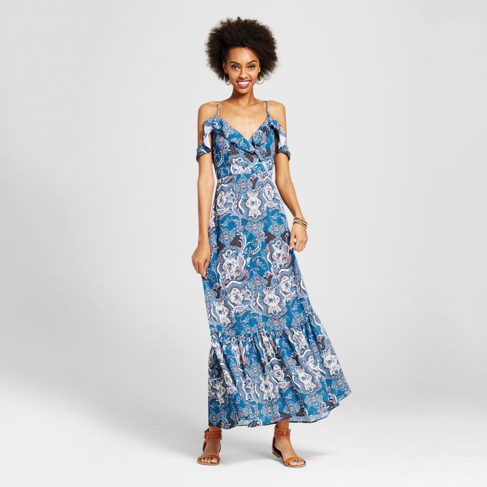 Womens Cold Shoulder Maxi Dress - Xhilaration (Juniors) Blue L