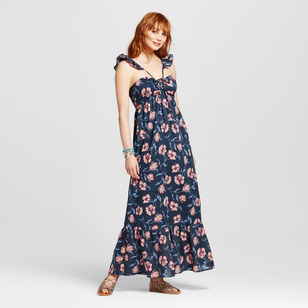 Womens Navy Ruffle High Neck Maxi Dress - Xhilaration (Juniors) Navy M, Blue
