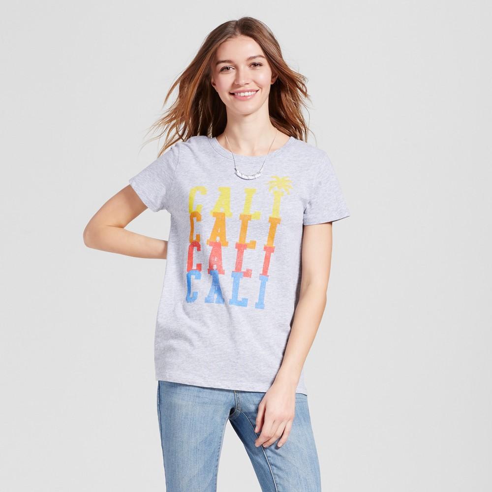 Womens California Cali Repeat T-Shirt XS - Heather Gray (Juniors)