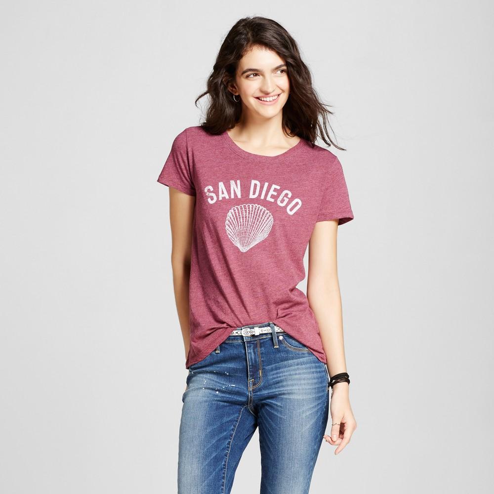 Womens California San Diego Sea Shell T-Shirt L - Burgundy (Juniors), Purple