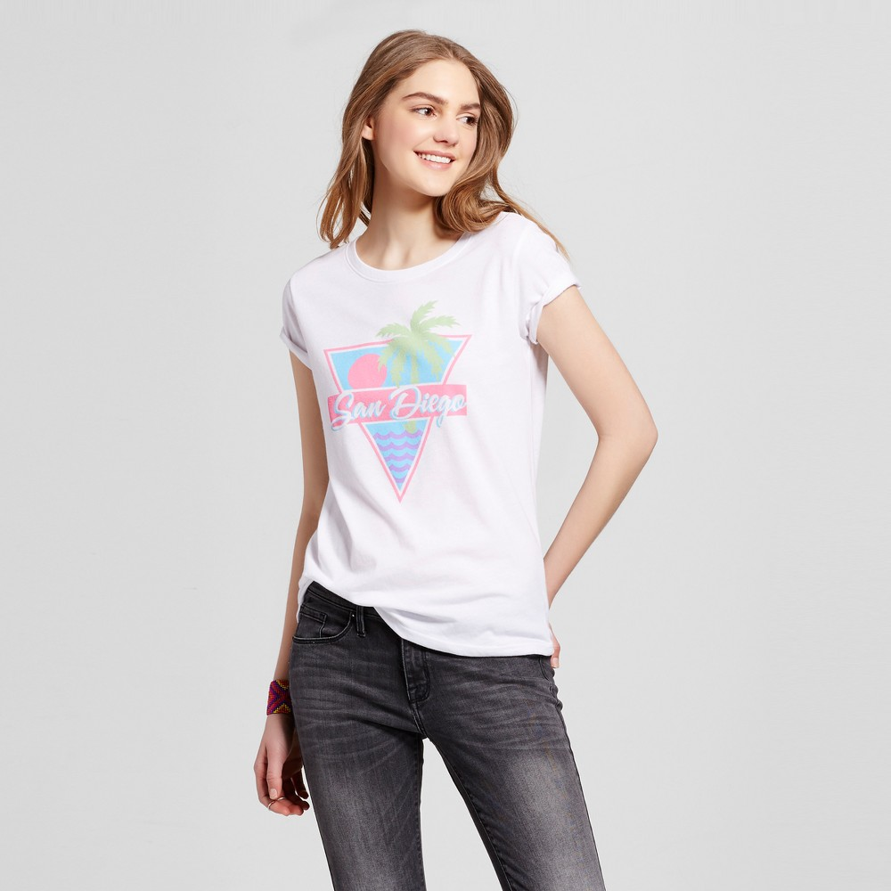 Womens California Retro San Diego T-Shirt M - White (Juniors)