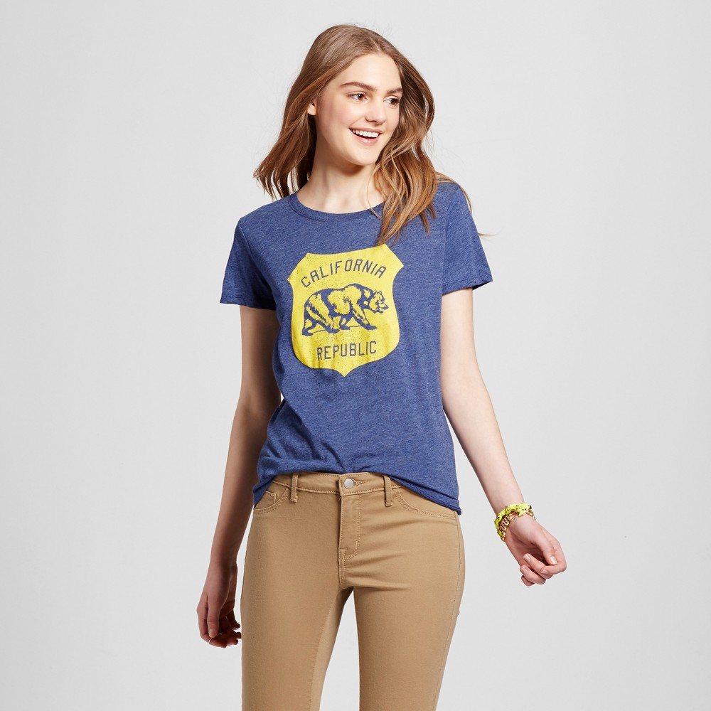 Womens California Republic T-Shirt XL - Navy (Juniors), Blue