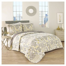 Gray Floral Set in Spring Quilt Set 3pc - Traditions by Waverly®