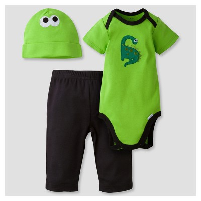 Baby Boys' 3-Piece Short Sleeve Onesies® Bodysuit, Pants and Cap Set Dino Green 3-6M - Gerber®