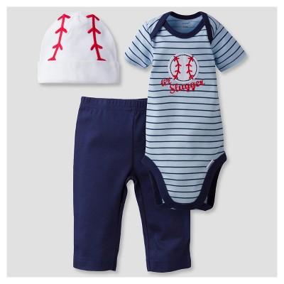 Baby Boys' 3-Piece Short Sleeve Onesies® Bodysuit, Pants and Cap Set Baseball Blue 0-3M - Gerber®