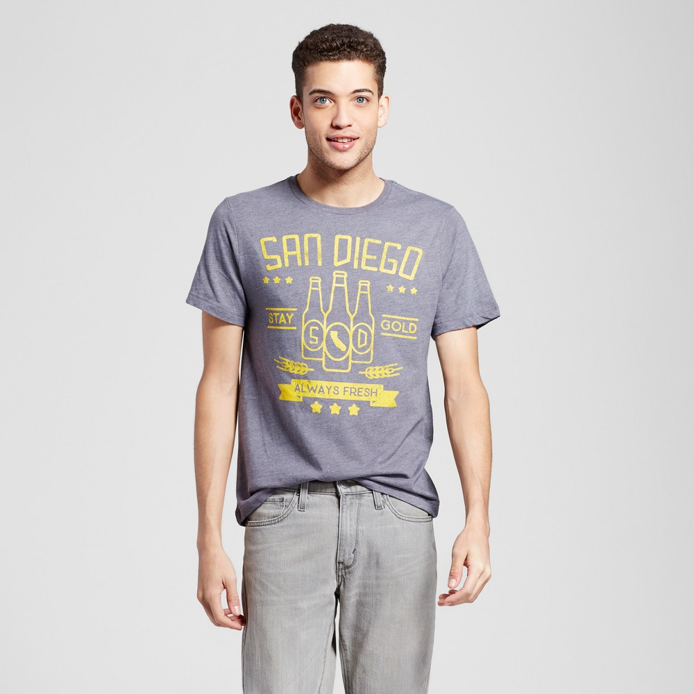 Mens California San Diego Stay Golden T-Shirt L - Charcoal Gray