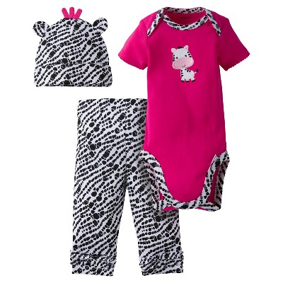 Baby Girls' 3-Piece Short Sleeve Onesies® Bodysuit, Pants and Cap Set Zebra Pink 3-6M - Gerber®