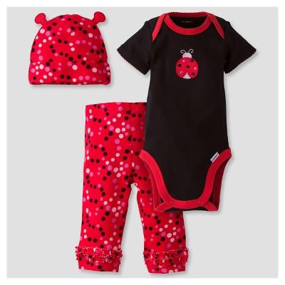 Baby Girls' 3-Piece Short Sleeve Onesies® Bodysuit, Pants and Cap Set Ladybug Red 3-6M - Gerber®