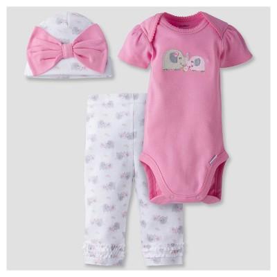 Baby Girls' 3-Piece Short Sleeve Onesies® Bodysuit, Pants and Cap Set Elephant Pink 0-3M - Gerber®
