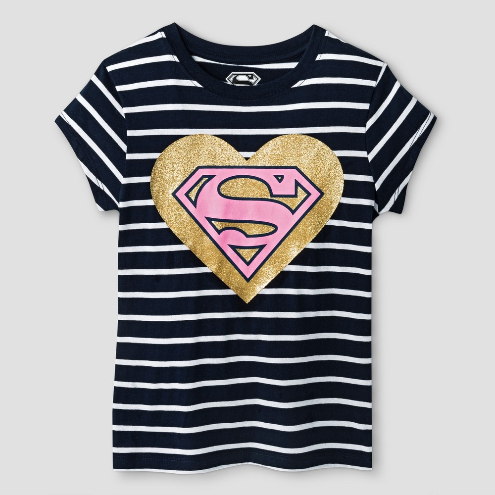 Girls Supergirl Short Sleeve T-Shirt - Navy/White XL (14-16), Size: XL(14-16), Blue