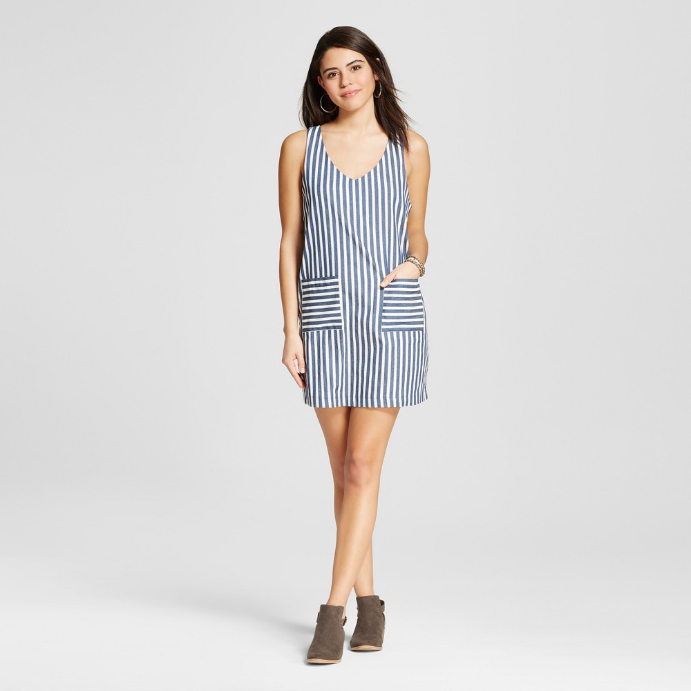 Women's Stripe Contrast Pocket V-Neck Dress Blue L – Le Kate (Juniors')
