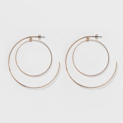Women's Thin Metal Circle Earring - Rose Gold